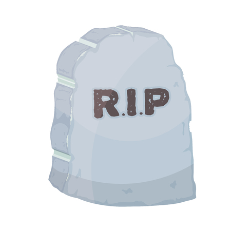 grave stone: Vector illustration gravestone on white background. Cartoon image of a grave stone with the text RIP.