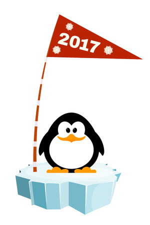 Vector illustration of a little penguin on the ice with a flag. Waiting for New Year holiday Illustration