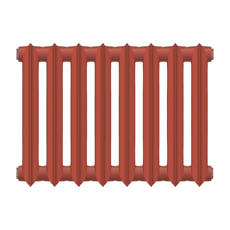 home heating: Vector illustration of a vintage cast-iron heat radiator red on a white background. Home heating element. Abstract thing home construction element