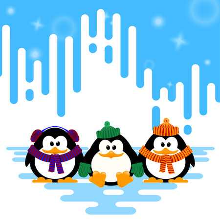 Vector illustration of a set cute little penguin in a knitted hat on winter abstract striped  background.
