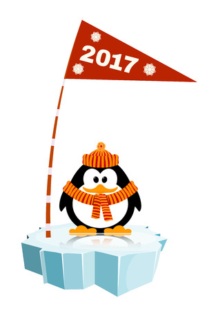 floe: Vector illustration of a little penguin wearing a hat  and a scarf on the ice with a flag. Waiting  for New Year holiday