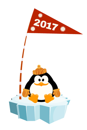floe: Vector illustration of a little penguin wearing a hat and mittens on the ice with a flag. Waiting for New Year holiday