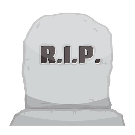 Vector afbeelding grijze grafsteen op witte achtergrond. Cartoon beeld van een grafsteen met de tekst RIP.