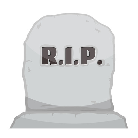rip: Vector illustration gray gravestone on white background. Cartoon image of a grave stone with the text RIP.