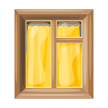 housing style: Vector illustration of abstract Cartoon windows with yellow curtain on a white background.  Cartoon style. Cartoon Housing Element window