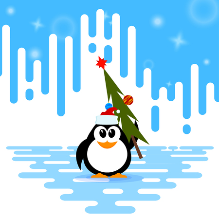 Vector illustration of a cute little penguin in the cap of Santa Claus, Christmas tree with  Christmas ball