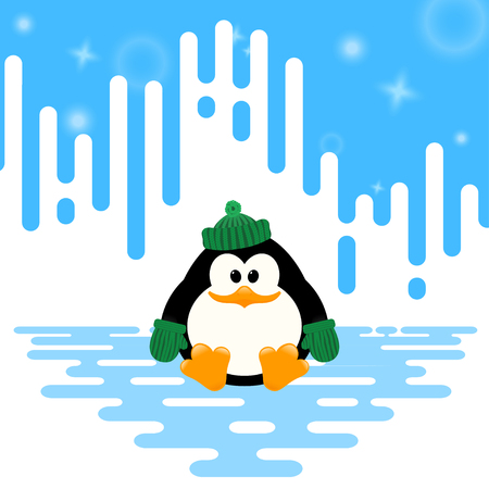 Vector illustration of a cute little penguin in a green knitted woolen hat and green mittens on winter abstract striped background.