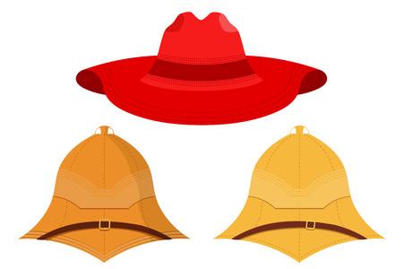 médula: Ilustración del vector de sombreros en un fondo blanco. objetos aislados. Vector conjunto de tapas. sombrero rojo, sombrero de explorador, casco de corcho. Vectores
