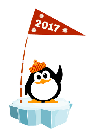Vector illustration of a little penguin wearing a hat on the ice with a flag. Waiting for New Year  holiday