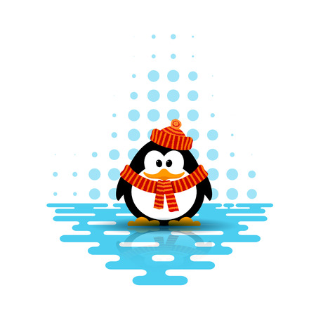 floe: Vector illustration of a cute little penguin wearing a hat and a scarf on an abstract background. Cartoon style Illustration