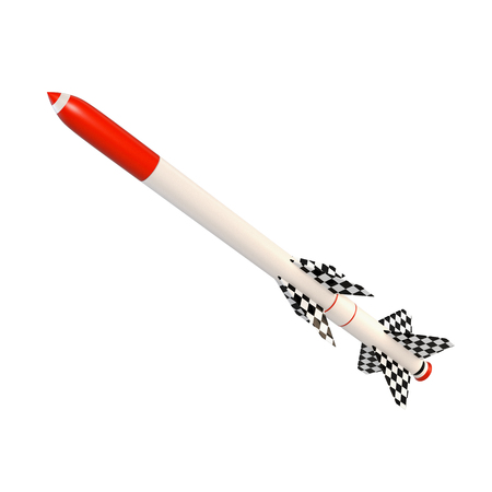 missile: 3D illustration of a two-stage missile with a red tipped. Abstract rocket on a white background.  Isolated object Stock Photo