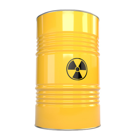 radiation pollution: 3D illustration of yellow metal barrels with radiation content and radiation sign. Kontspet  nuclear danger, pollution of the environment. Protection of Nature