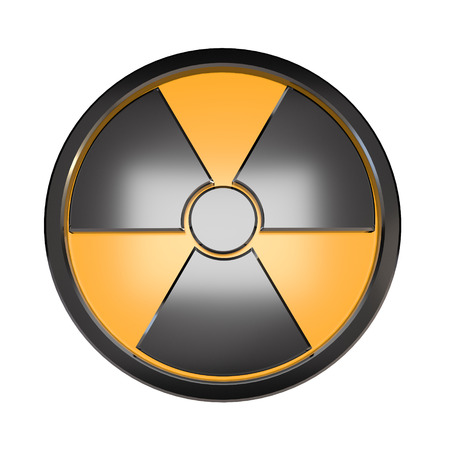 3D radiation sign on a white background. Stock Photo