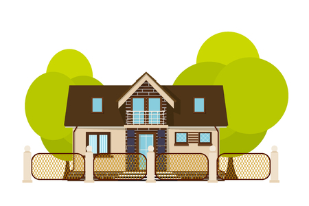 rural home: Cute little house. Cartoon house with fence and green tree on a white background. Illustration  of the cozy rural home, isolate. Stock vector Illustration
