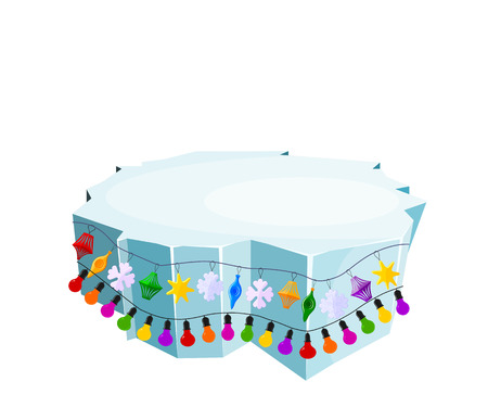 floe: Holiday floe. Vector illustration of an ice floe with festive garlands. Decorative lanterns, lights,  snowflakes. Element of design and decoration