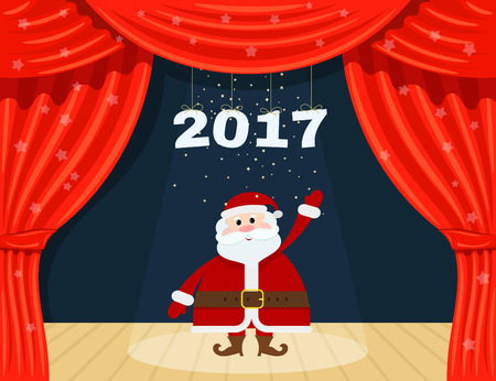 red theater curtain: Open red theater curtain with stars and Santa Claus. Santa Claus at the theater. Happy New  Year. Speech by 2017. Vector illustration Illustration