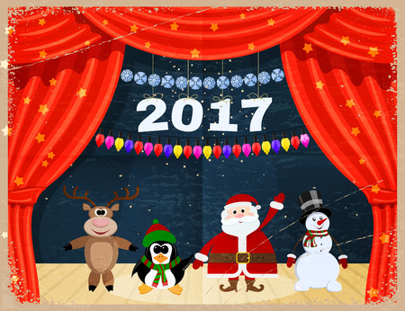 red theater curtain: Retro Open red theater curtain with stars, snowflakes, garland and Santa Claus. Vintage card  Santa Claus and reindeer, snowman, penguinat the theater. Happy New Year. Speech 2017.  Vector illustration