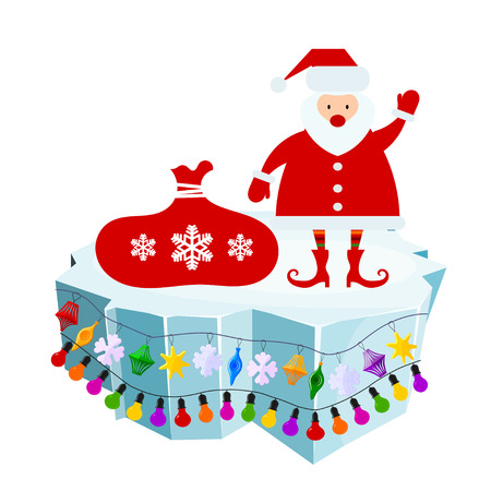 floe: Holiday floe. Vector illustration of an ice floe with festive garlands and Santa Claus with a  bag. Decorative lanterns, lights, snowflakes. Element of design and decoration Illustration