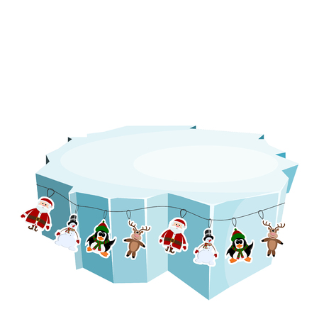 floe: Cartoon floe. Vector illustration of an ice floe with festive garlands. Decorative lanterns, lights,  snowflakes. Element of design and decoration