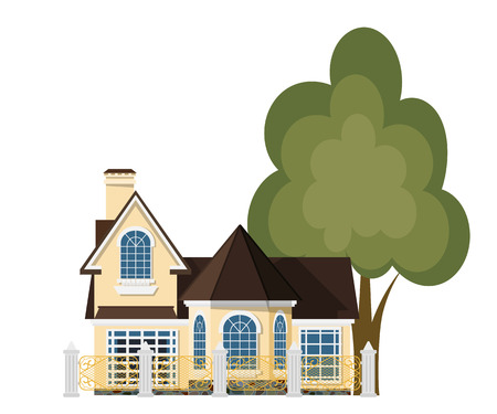 rural home: Cute little house. Cartoon house with a beautiful fence and green tree on a white background.  Illustration of the cozy rural home, isolate. Stock vector