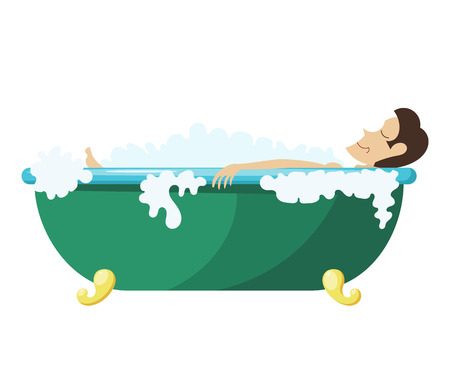 Vector Cartoon illustration of a man lying in the bath. Young man relaxes in the bath. Man, foam, bath