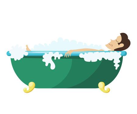 Vector l'illustrazione del fumetto di un uomo disteso nella vasca da bagno. Giovane uomo si rilassa nella vasca da bagno. L'uomo, schiuma, bagno