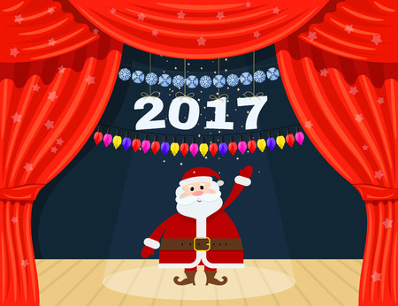 Open red theater curtain with stars, snowflakes, garland and Santa Claus. Santa Claus at the  theater. Happy New Year. Speech by 2017. Vector illustration