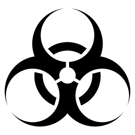 bacteriological: Vector illustration of a black sign bacteriological threats. Abstract sign bio danger on the white  background