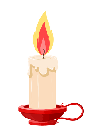 Vector illustration of a burning candle in a holder on a white background. Cartoon candle with  the flame in red holder. Isolated object. Vintage candle
