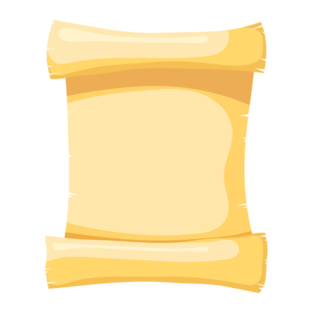 Vector illustration of papyrus on a white background. Isolated object. Cartoon style. Abstract yellow papyrus, a roll of parchment