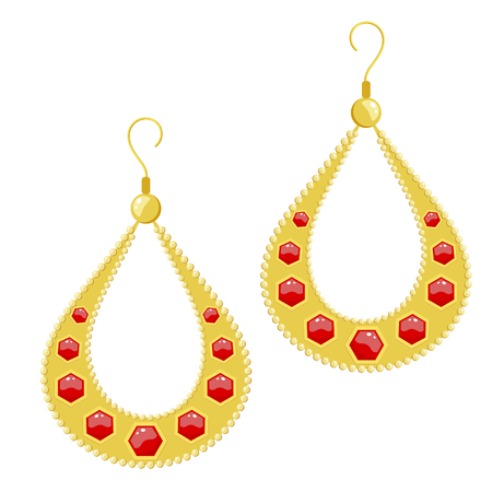 Vector illustration golden earrings on a white background. Cartoon style earrings with red gem