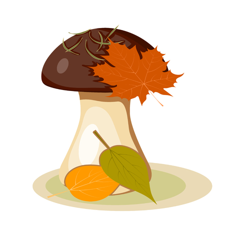 edible mushroom: Vector illustration of abstract forest mushroom with a brown hat and a white stem on a white  background. Cartoon style edible mushroom from pine needles and leaves. Gifts of Autumn  and the forests. Seasonal mushroom picking