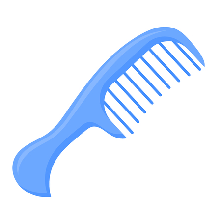 Vector illustration of a blue comb on a white background. Cartoon style blue comb.  Accessories for hairdressers Illustration