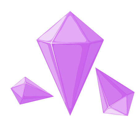 Vector illustration of a pink crystal on a white background. Cartoon style crystal. Purple  mineral design element. Illustration