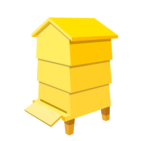 Wooden yellow Beehive on a white background. Traditional beehive. Cartoon illustration of a  beehive. Stock vector Illustration