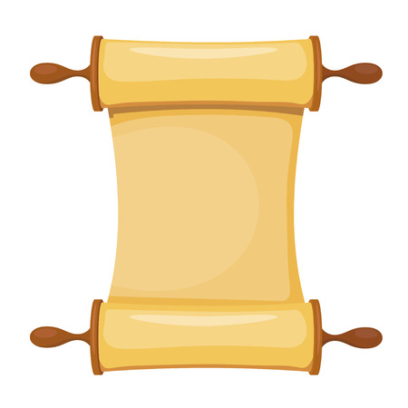 Vector illustration of the Torah on a white background. Isolated object. Cartoon image of the Torah, Old Testament. Subject of religion. Law of the Jews