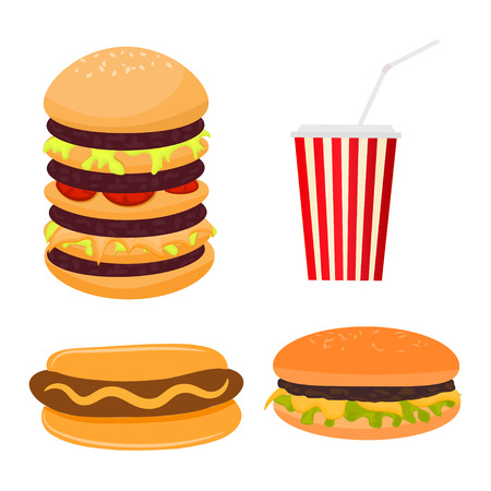 Vector illustration of fast food. Cartoon style Illustration