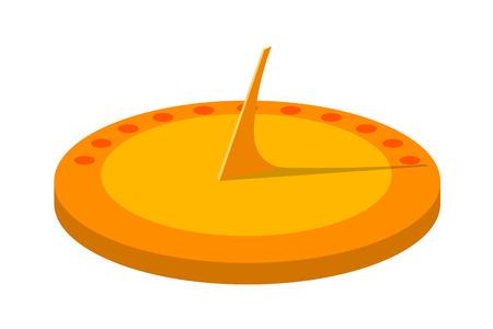 Vector illustration of a sundial. Isolate. Cartoon sun clock on a white background