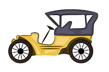 Vector illustration of a schematic drawing of abstract vintage car Illustration