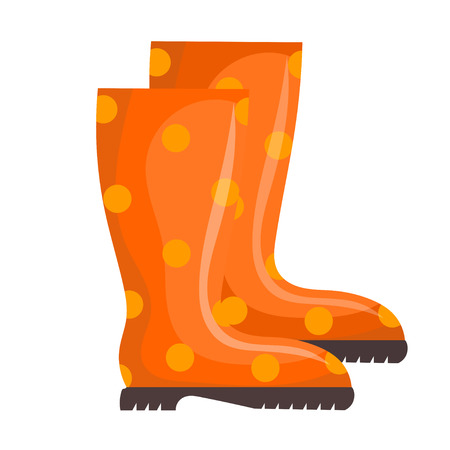 rubber boots: Vector illustration of orange rubber boots on a white background. Cartoon rubber boots,  isolated object