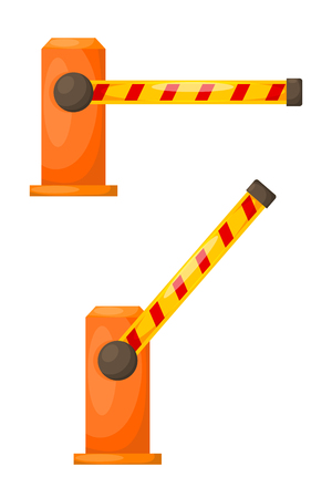 Vector illustration of orange barrier on a white background. Cartoon electronic barrier,  isolated abstract object