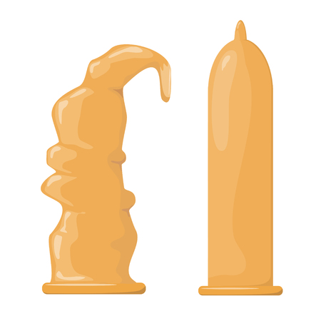 Vector illustration of a condom. Cartoon style condom on a white background. Protection against sexually transmitted diseases