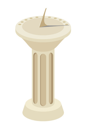 dial: Vector illustration of a sundial on a marble column. Isolate. Cartoon sun clock on a white background Illustration