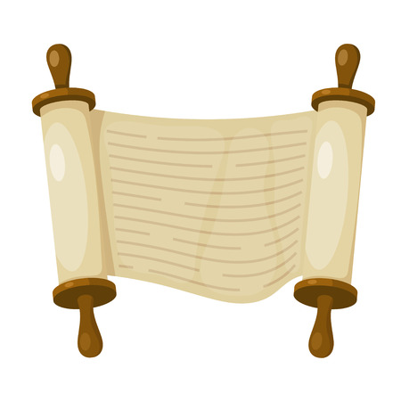 Vector illustration of papyrus on a white background. Scroll paper. Cartoon image of the  Torah in the unfolded state.