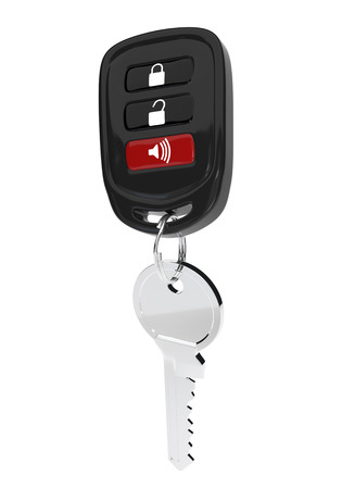 transponder: Keys to the car with an automatic control isolated on white background. The transponder. Vector illustration.