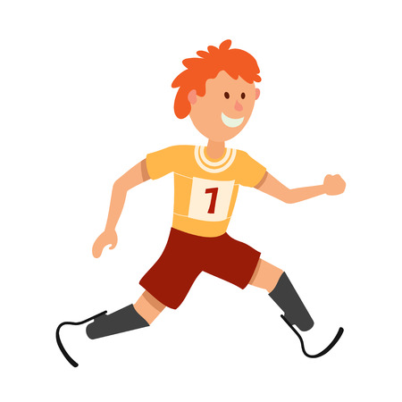 Little boy on prostheses. Young runner disabled athlete on a white background. Cartoon style  athlete on prostheses, Paralympic