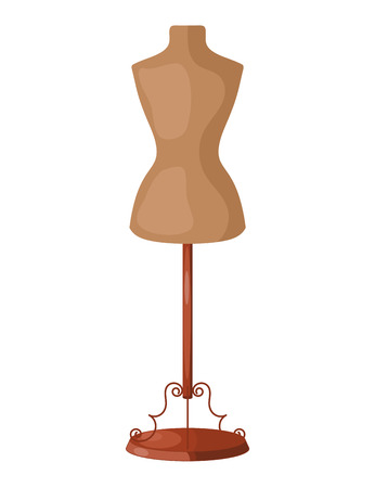 affiliation: Vector illustration of abstract mannequin for clothing metal base on a white background.  Isolated object. Mannequin sewing workshop, seamstresses affiliation Illustration