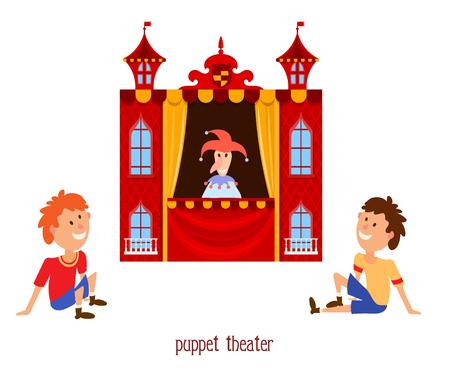 인형극. 인형 광대와 흰색 배경에 앉아 아이들 꼭두각시 극장의 그림. 만화 젊은 뷰어와 함께 인형극