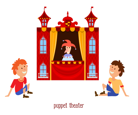 Puppet show. Illustration of childrens puppet theater with a doll clown and child sitting on a  white background. Cartoon vector a puppet theater with young viewers