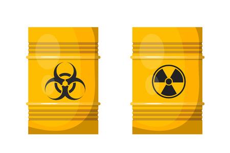 bacteriological: Vector illustration of two yellow metal barrels with black signs of radiation and bacteriological  danger on the side. Isolated object. Bright yellow barrels with dangerous content Illustration